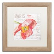 Trademark Fine Art Paris Botanique Red Poppy Birch Finish Framed Wall Art