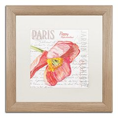 Trademark Fine Art Paris Botanique Red Poppy Birch Finish Framed Wall Art
