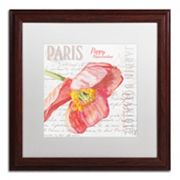 Trademark Fine Art Paris Botanique Red Poppy Wood Finish Framed Wall Art