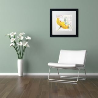 Trademark Fine Art Paris Botanique Yellow Poppy Black Framed Wall Art