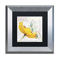 Trademark Fine Art Paris Botanique Yellow Poppy Silver Finish Framed Wall Art