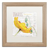 Trademark Fine Art Paris Botanique Yellow Poppy Birch Finish Framed Wall Art