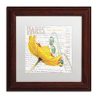 Trademark Fine Art Paris Botanique Yellow Poppy Wood Finish Framed Wall Art