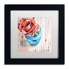Trademark Fine Art Rose in Jar Matted Black Framed Wall Art