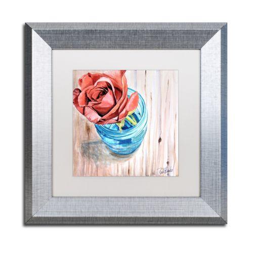 Trademark Fine Art Rose in Jar Silver Finish Framed Wall Art