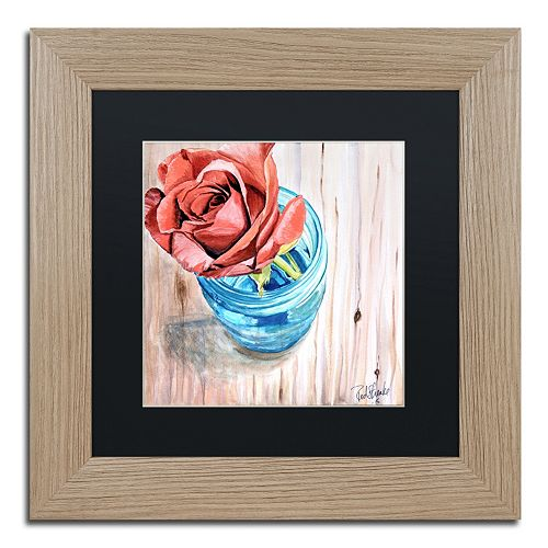 Trademark Fine Art Rose in Jar Birch Finish Framed Wall Art
