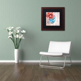 Trademark Fine Art Rose in Jar Wood Finish Framed Wall Art