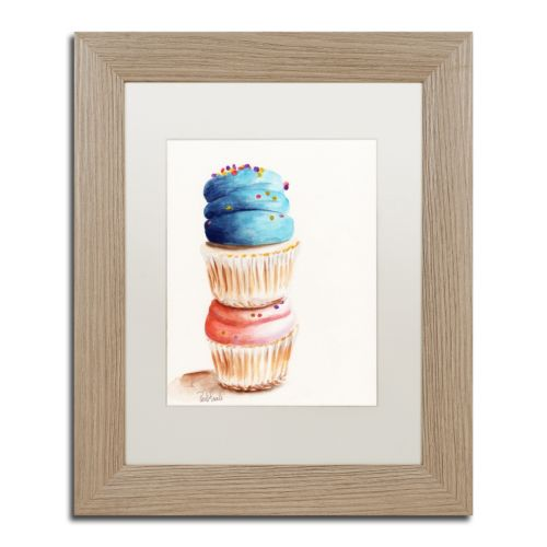 Trademark Fine Art Stacked Cupcakes Birch Finish Framed Wall Art
