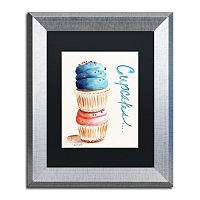 Trademark Fine Art Stacked Cupcakes Silver Finish Framed Wall Art