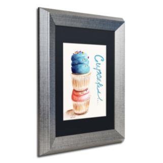 Trademark Fine Art Stacked Cupcakes Silver Finish Framed Wall Art