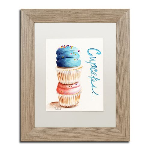 Trademark Fine Art Stacked Cupcakes with Words Birch Finish Framed Wall Art