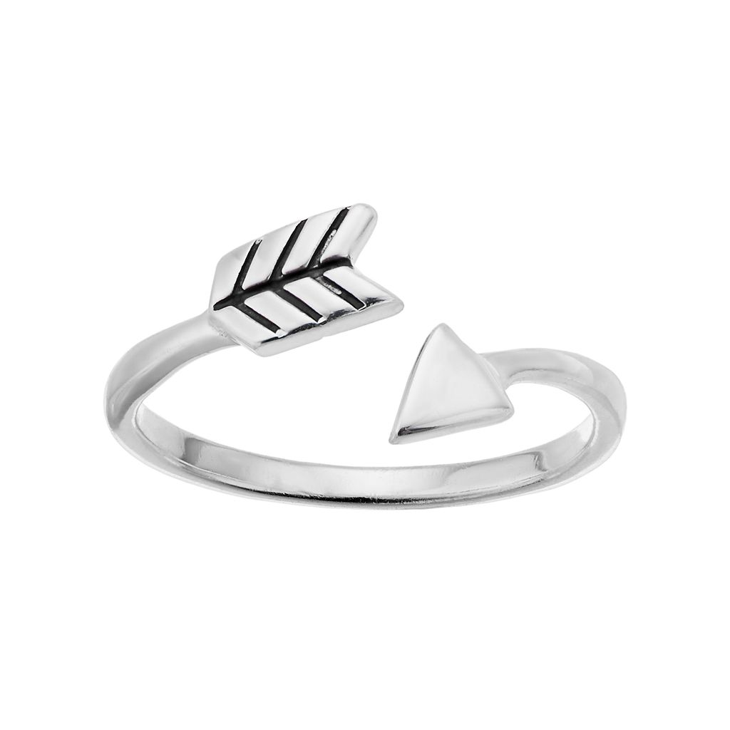 PRIMROSE Sterling Silver Arrow Bypass Pinky Ring