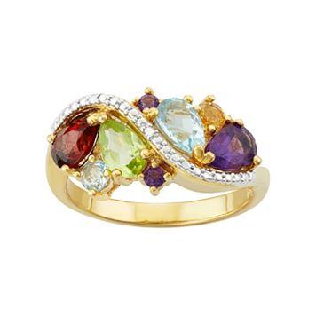 18k Gold Over Silver Gemstone Cluster Ring