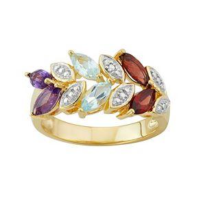 18k Gold Over Silver Gemstone Leaf Ring