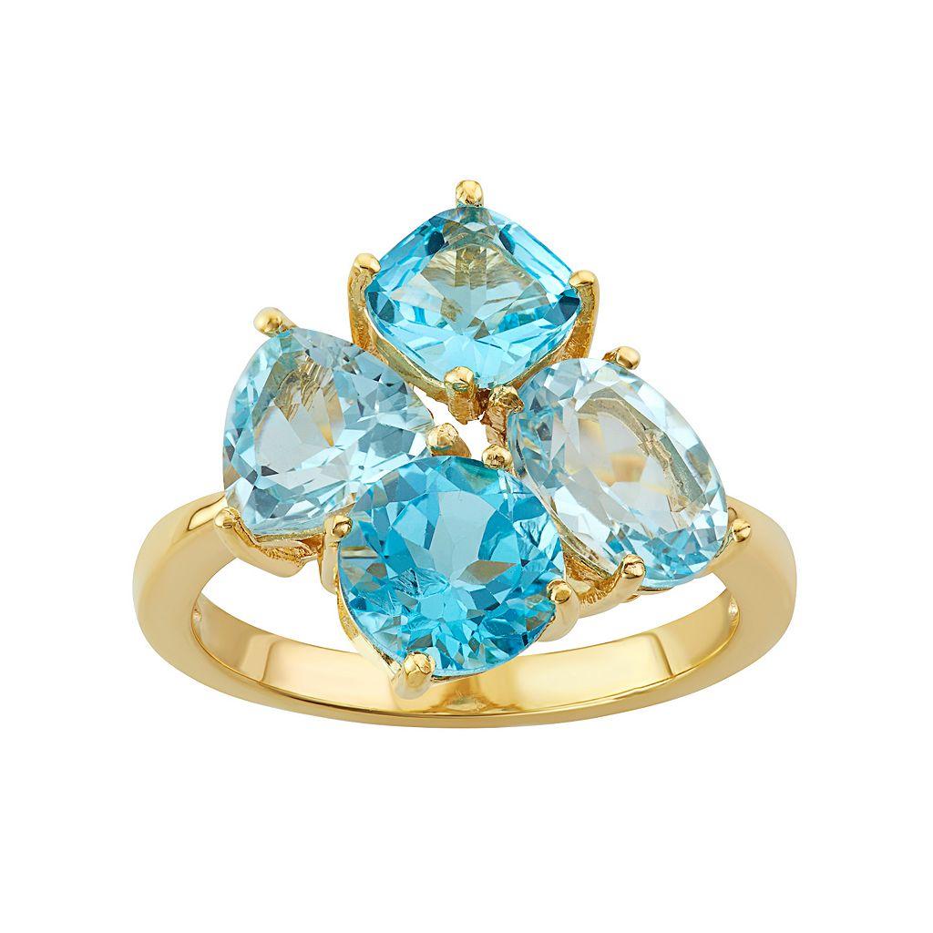 18k Gold Over Silver Sky Blue Topaz & Swiss Blue Topaz Cluster Ring