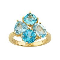 18k Gold Over Silver Sky Blue Topaz & Swiss Blue Topaz Cluster Ring