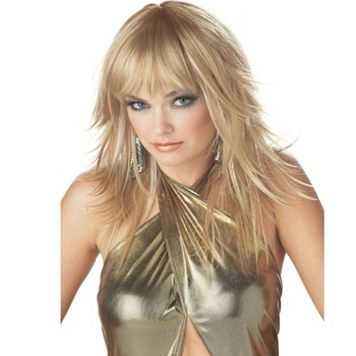 Adult Blonde Feathered Costume Wig