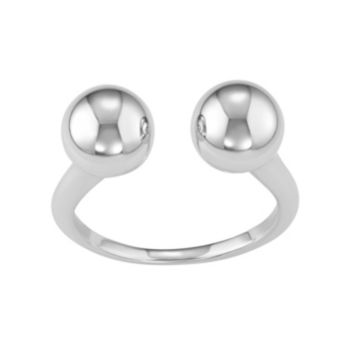 Sterling Silver Ball Open Ring