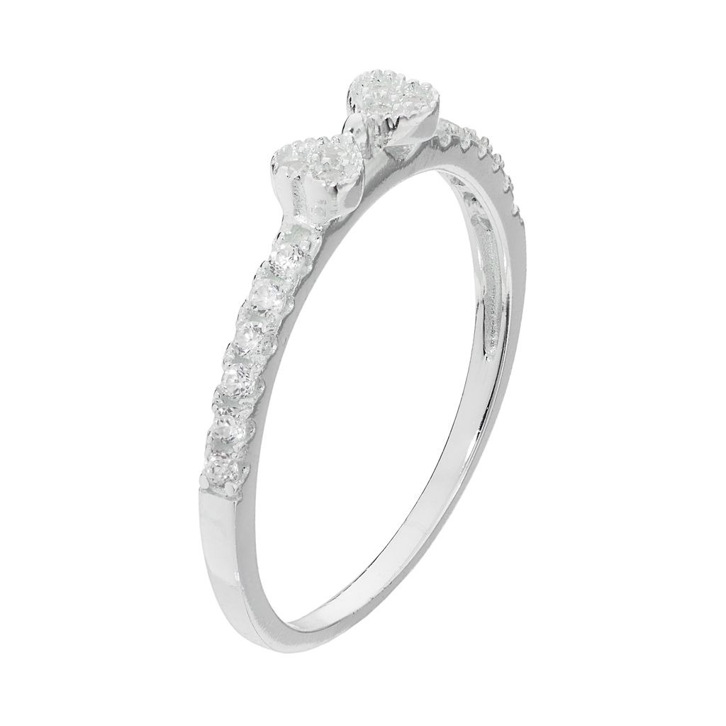 PRIMROSE Sterling Silver Cubic Zirconia Bow Ring