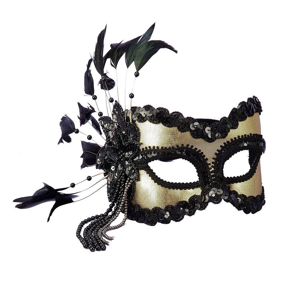 Adult Black & Gold Carnival Costume Mask