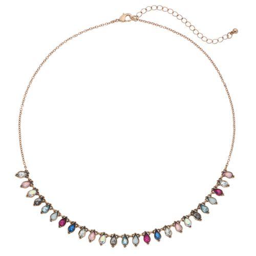 Mudd® Multi Color Faceted Teardrop Necklace