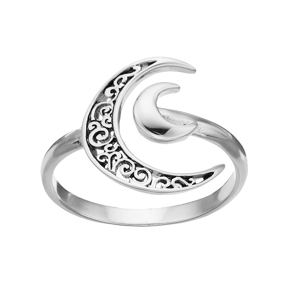 PRIMROSE Sterling Silver Crescent Moon Ring