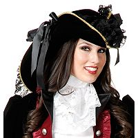 Adult Velvet Black & Gold Pirate Costume Hat