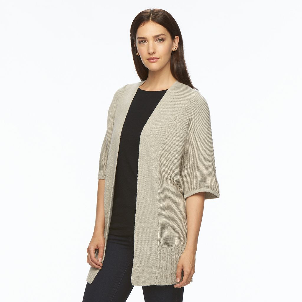 Women's Apt. 9® Open Front Lurex Cardigan