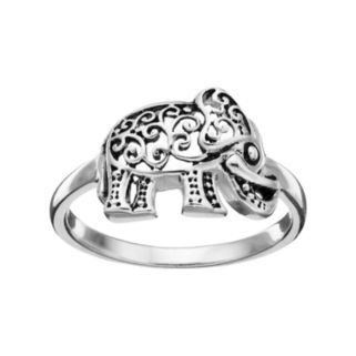PRIMROSE Sterling Silver Filigree Elephant Ring