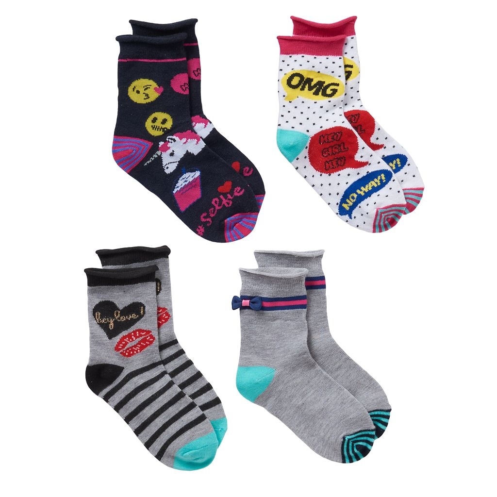 Girls 4-16 Trimfit 4-pk. Speech Bubble Crew Socks