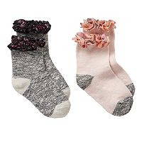 Girls 4-16 Trimfit 2-pk. Floral-Trim Boot Socks
