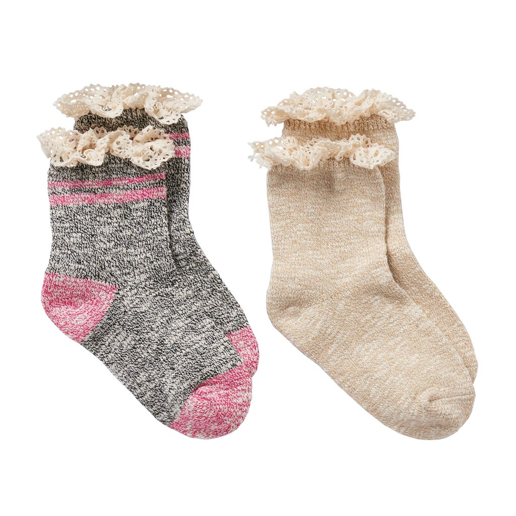 Girls 4-16 Trimfit 2-pk. Crochet-Trim Boot Socks
