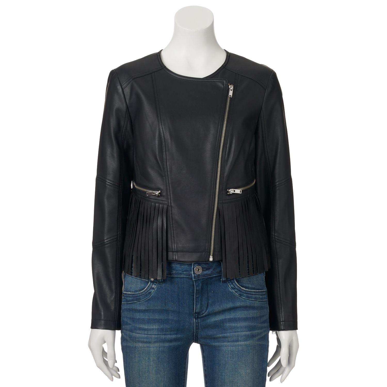 Juniors Coffee Shop Fringed Faux-Leather Moto Jacket
