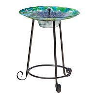 Smart Living Argus Peacock Glass Solar Birdbath