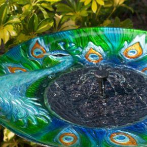 Smart Living Argus Peacock Glass Solar Birdbath