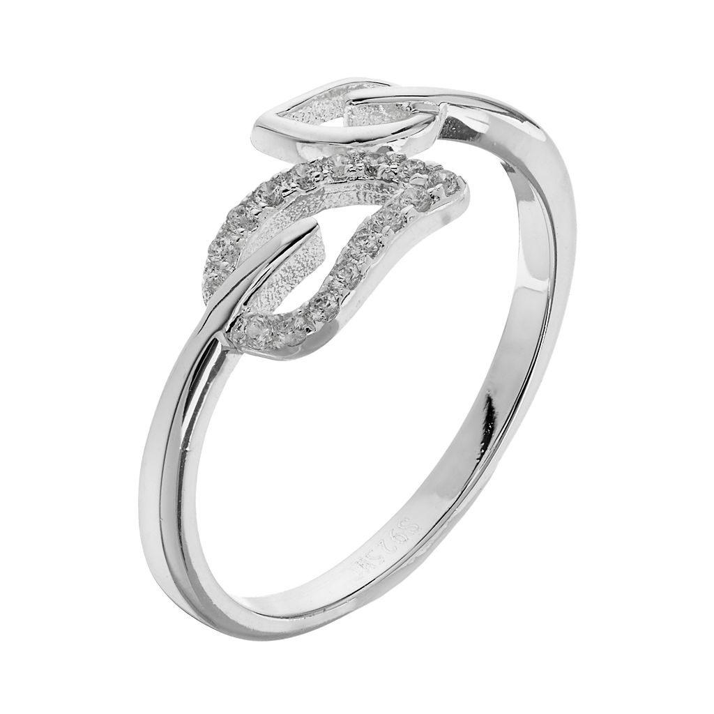 PRIMROSE Sterling Silver Cubic Zirconia Leaf Bypass Ring