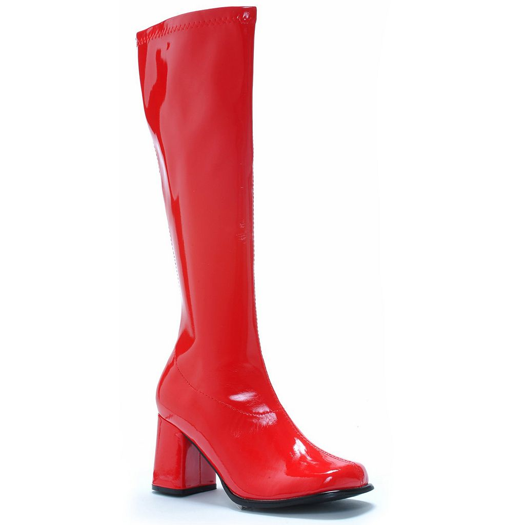 Adult Size 7 Red Patent Knee-High Gogo Costume Boots