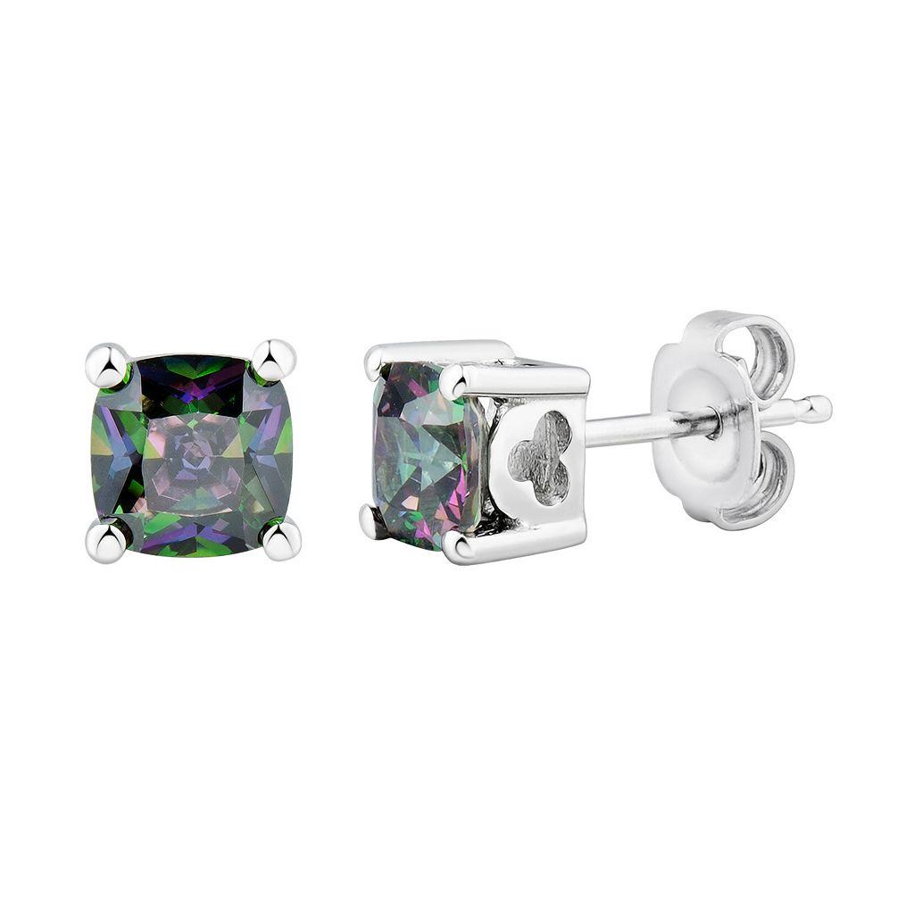 DiamonLuxeSterling Silver Moxie Green Cubic Zirconia Stud Earrings