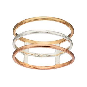 PRIMROSE Tri-Tone Sterling Silver Triple Row Ring