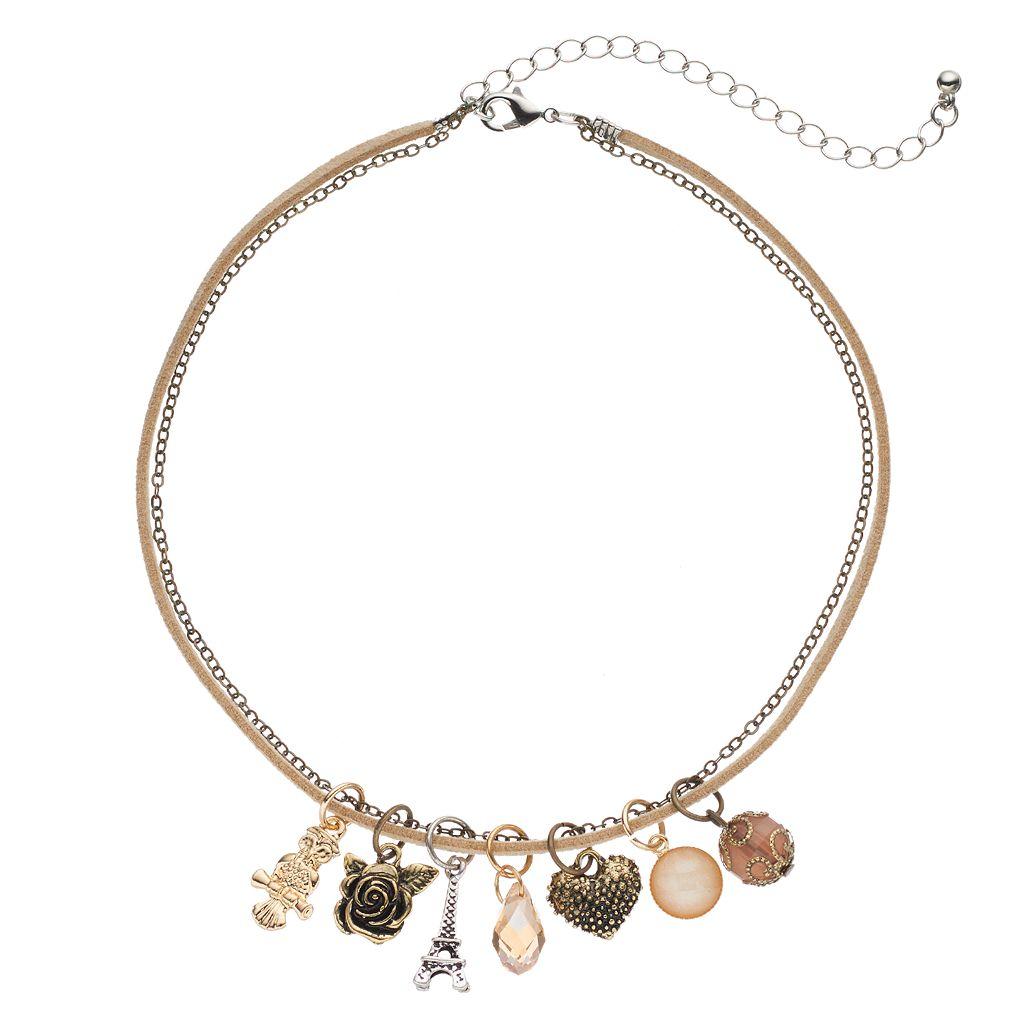 Mudd® Owl, Eiffel Tower, Rose & Heart Charm Choker Necklace Set