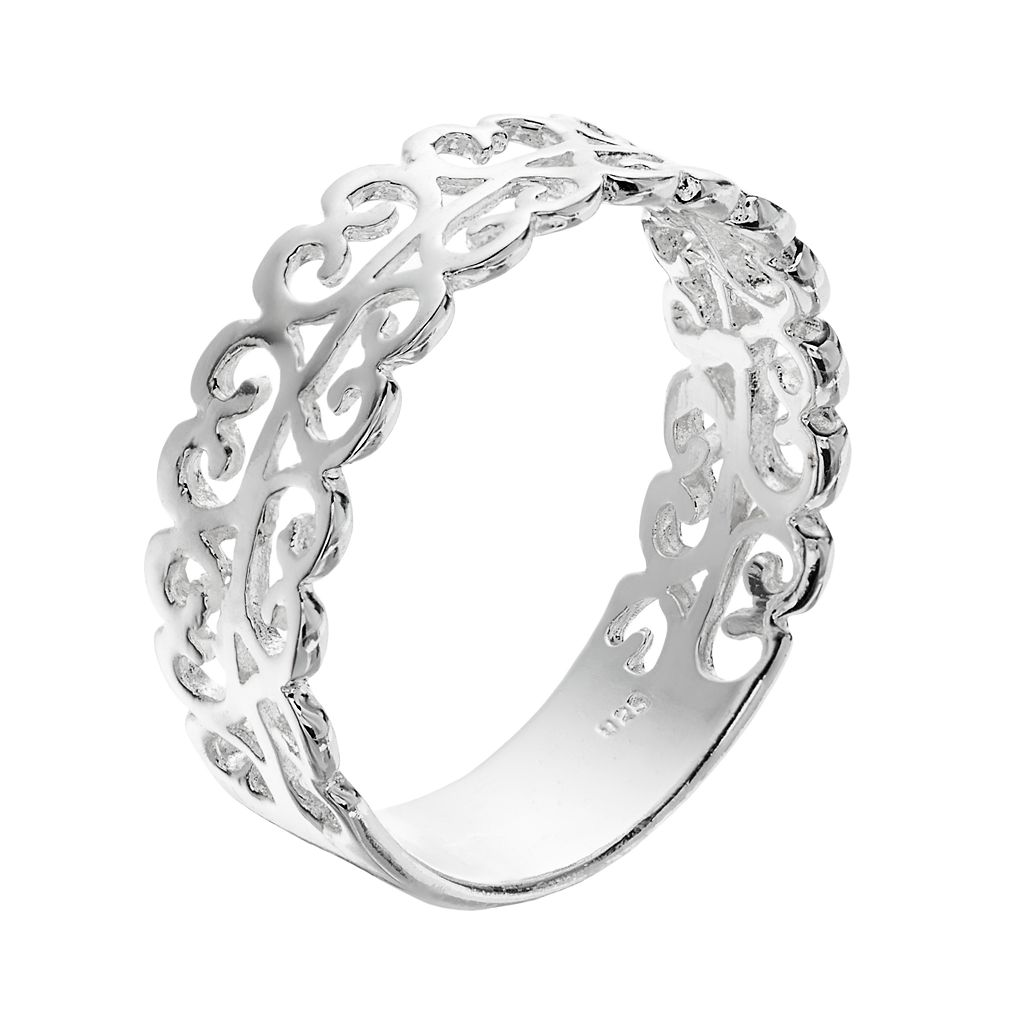 PRIMROSE Sterling Silver Filigree Heart Ring