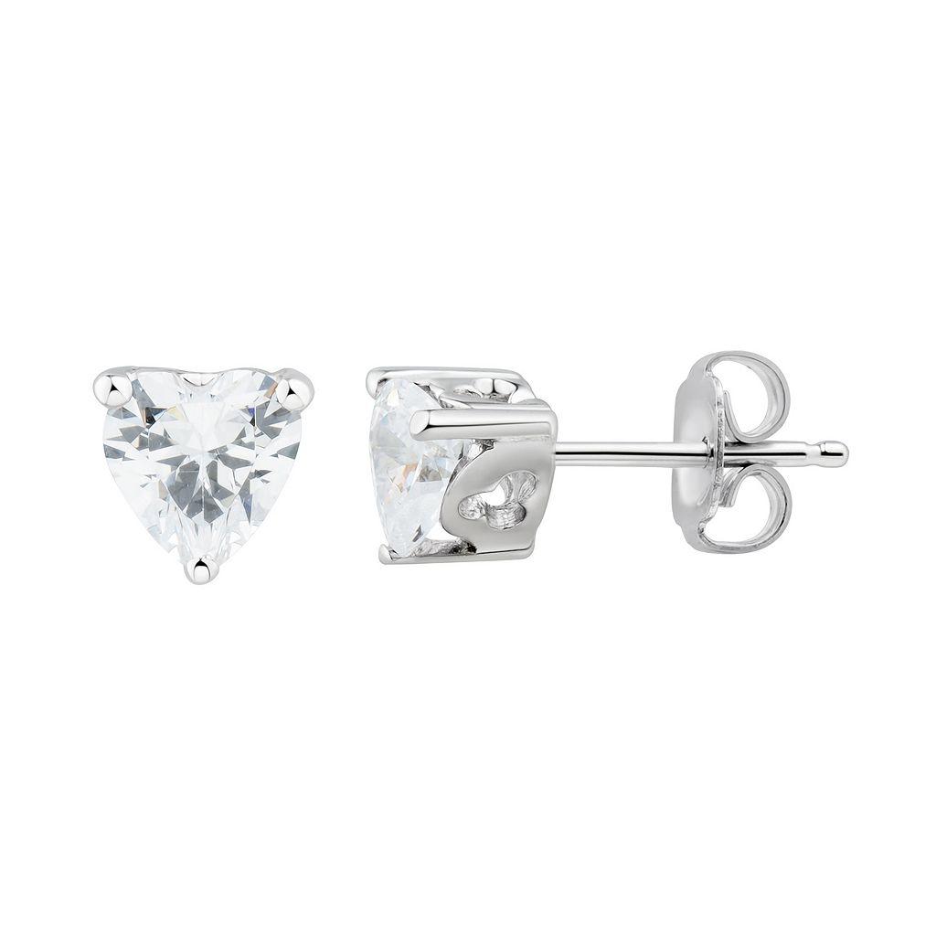 DiamonLuxeSterling Silver Cubic Zirconia Heart Stud Earrings