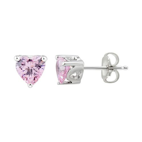 DiamonLuxe Sterling Silver Pink Cubic Zirconia Heart Stud Earrings