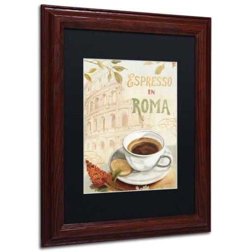 Trademark Fine Art Cafe in Europe III Wood Finish Framed Wall Art