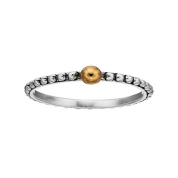 PRIMROSE Two Tone Sterling Silver Beaded Ring
