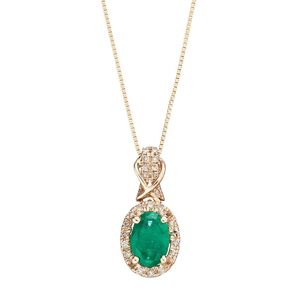 10k Gold Emerald & 1/6 Carat T.W. Diamond Halo Pendant Necklace