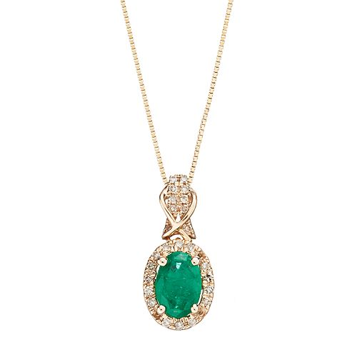 10k Gold Emerald & 1/6 Carat T.W. Diamond Halo Pendant Necklace