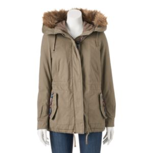 Juniors' Coffee Shop Drawstring Faux-Fur & Twill Jacket
