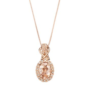10k Rose Gold Morganite & 1/6 Carat T.W. Diamond Halo Pendant Necklace