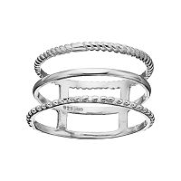PRIMROSE Sterling Silver Textured Triple Row Ring